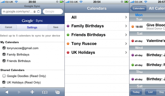 Google Calendar, Contacts Mail and the iPhone